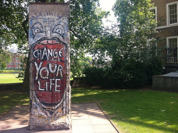"""change your life"" bit of Berlin Wall outside Imperial War Museum"